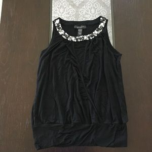 Black cable and gauge tank top w/ neckline detail